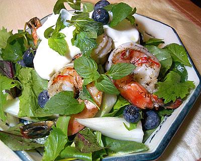 ブルーベリーと海老のサラダ