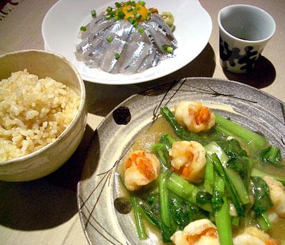 海老小松菜炒め