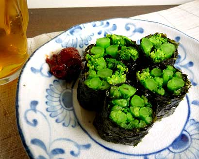 菜の花海苔巻き